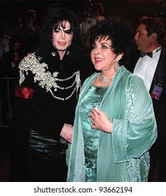 16FEB97:  ELIZABETH TAYLOR & MICHAEL JACKSON arriving at the Pantages Theatre, Hollywood, for her birthday celebration gala.    Pix: PAUL SMITH