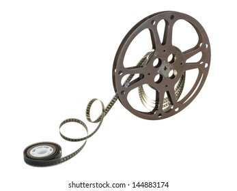 A 16mm film in a metallic reel, isolated over white background, with clipping path