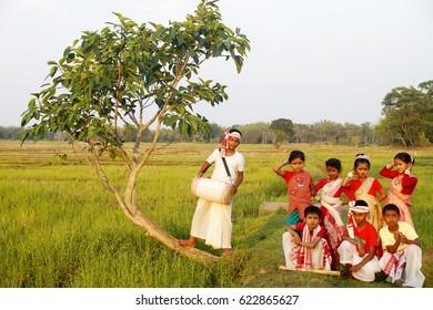 16th April 2017, Assamese Kids are dancing bihu on occasion of Rongali Bihu in Jorhat, India.