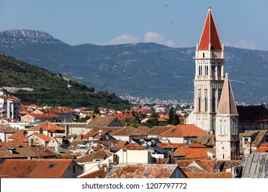 16th century bell tower of the St. Lawrence cathedral, a Roman Catholic triple-naved basilica constructed in Romanesque-Gothic in Trogir, Croatia.