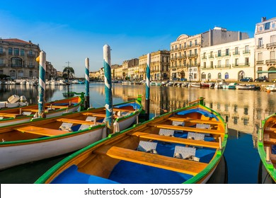 16th of June 2017: typical Sète boats on the royal canal in Sète en Occitania, France