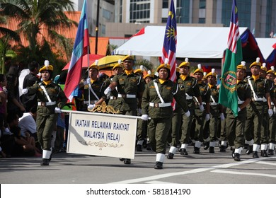 16th September 2011, an Unknown Malaysia The People's Volunteer Corps, They are wearing full set uniform participating in the National Day walking procession at Kota Kinabalu, Sabah, Malaysia.
