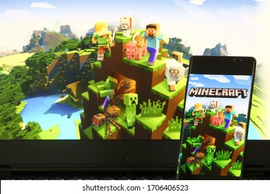 17 April 2020. Istanbul / Turkey. Minecraft logo on Android mobile device.