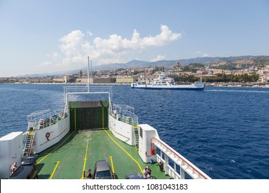 17 August 2013 - Messina (Italy) Ferry ships approaching the port of Messina