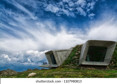 17 august 2016: view of the Messner Mountain Museum Corones (project by Zaha Hadid) at Plan de Corones (north Italy)