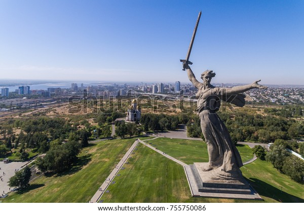 "17 august 2017. Aerial view of the statue ""The Motherland calls"" on the top of The Mamaev Hill in Volgograd, Russia."