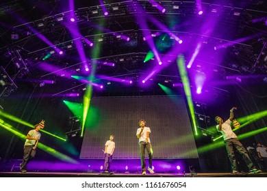 17 AUGUST 2018, A CAMPINGFLIGHT TO LOWLANDS PARADISE FESTIVAL, BIDDINGHUIZEN THE NETHERLANDS. Concert of Brockhampton