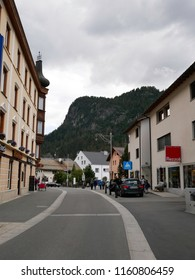 17 august 2018-saintz moritz-suisse-View of the main streets of Pontresina, a charming town located in Switzerland