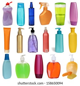 17 colored plastic bottles with liquid soap and shower gel isolated on white background . Studio shooting. Set.
