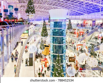 17 Dec 2017. Christmas decorations in Aviapark shopping mall. One of the largest in Europe. Moscow, Russia