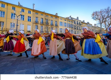 "17 december 2017. Aix-en-Provence, France. The traditional Provencal Feast of winter - ""Bravade calendale"". Dance of Provence."