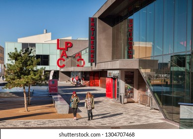 17 February 2015: Lincoln England, UK - Students at LPAC, or Lincoln Performing Arts Centre, Lincoln University.