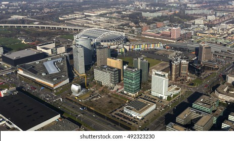 17 February 2016, Bijlmermeer, Amsterdam, Holland. Aerial view of the financial district at the Arena Boulevard with headquarters of Deutsche Bank, ING Bank and DAS Insurance.