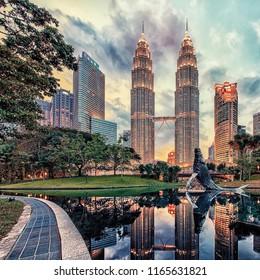 17 february 2017, Petronas twin towers in KLCC district Kuala Lumpur