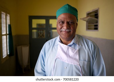 17 July 2015 - HYDERABAD, INDIA: Portrait of a doctor in a medical healthcare facility.