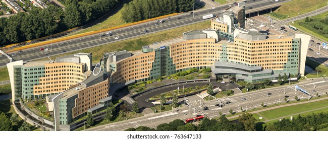 17 July 2017, Amstelveen, Holland. Aerial view of the headquarters of KPMG along highway A9. KPMG is a legal consulting company.