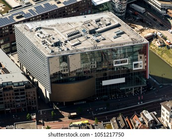 17 July 2017, Utrecht, Holland. Aerial view of concert hall Tivoli Vredenburg. It is a modern building and in the glass facade is a reflection from old houses at the other side of the street.