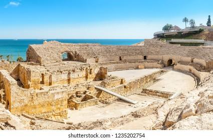 17 JULY 2018, TARRAGONA, SPAIN:   Roman amphitheater Coliseum in Tarragona