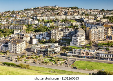 17 June 2017: Ilfracombe, North Devon, England, UK - A view over the town from Capstone Hill, with The Admiral Collingwood and the Crazy Golf Course, on a beautiful summer afternoon.