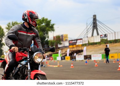 17 June 2018 - Kiev, Ukraine: Motorcycle gymkhana sport. A biker on a motorcycle. Motorcycling. Open moto fest.