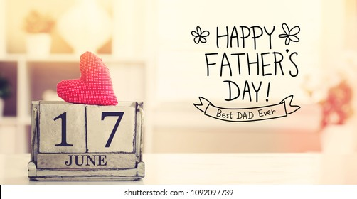 17 June Happy Fathers Day message with wooden block calendar