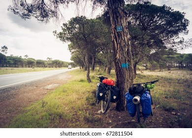 17 MARCH 2017: EuroVelo 1 signaling on a bicycle tour. Atlantic Coast Route, Alentejo - Portugal.