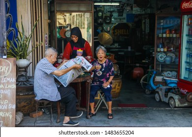 17 March 2019, Malacca Malaysia, The view of old Baba and Nyonya's sweet couple having breakfast at restaurant