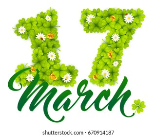 17 march date number made from green clovers, golden Irish coins and chamomiles