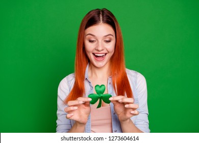 17 march spring concept. Closeup photo headshot portrait of cheerful lovely carefree cute glad positive she her student teen looking getting present gift surprise in hand isolated bright background
