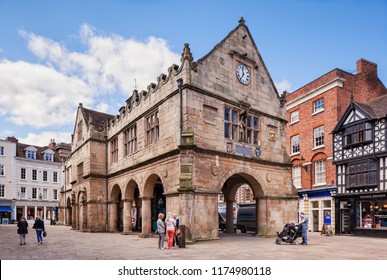 17 May 2016: Shrewsbury, Shropshire, UK - the Old Market Hall in the Market Square, built in 1596.