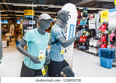 17 MAY 2018, BERLIN, GERMANY: Mannequins in sport shop DECATHLON