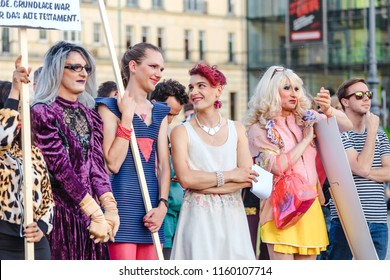 17 MAY 2018, BERLIN, GERMANY: participants of the LGBT rally on the central street of the Berlin city. Gay and transsexual activists protest against repressions in Europe