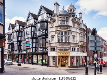 17 May 2018: Shrewsbury, Shropshire, England, UK - The town centre, High Street on the left, Mardol Head on the right.