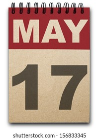 17  May calendar on recycle paper