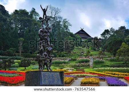 "17 November 2017, A sculpture name ""Continuity"", the fact that continuity ensures the success of whatever enterprise that stands in the middle of the Mae Fah Luang Garden in Chiangrai, Thailand"