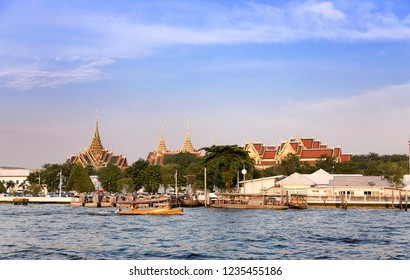 17 November 2018,Bangkok,Thailand. Riverside livestyle of Thai people transis with boat and Buddha temple religion. Destination landmark tourism to Thailand