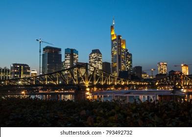 17 October 2017- Frankfurt/Main in Germany. Skyline in Frankfurt/Main by night