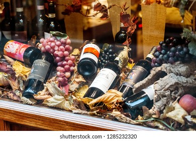 17 OCTOBER 2018, PIENZA, ITALY: Montalcino wines for sale at local market in Tuscany