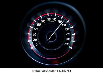 170 Kilometers per hour,light with car mileage with black background,number of speed,Odometer of car