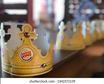 17.03.2019 Parma Italy: Burger King paper crowns in a restaurant