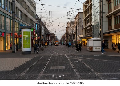 17.03.2020, Germany, Mannheim: City centre with local tram