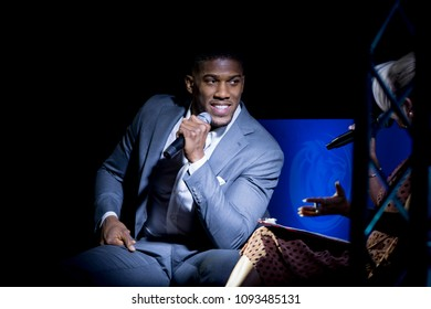 17-05-2018, Anthony Joshua Q&A, Ice Arena Wales, Cardiff, Wales - Unified World Heavy Weight Champion of the world Anthony Joshua takes questions in Cardiff at the Lyons Den Promotions event.