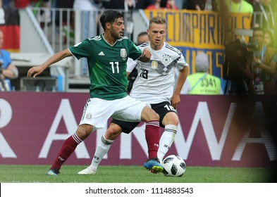 17.06.2018. Moscow, Russian: Carlos Vela and Kimmich in action during the Fifa World Cup Russia 2018, Group F, football match between GERMANY v MEXICO in Luzhniki Stadium  in Moscow.
