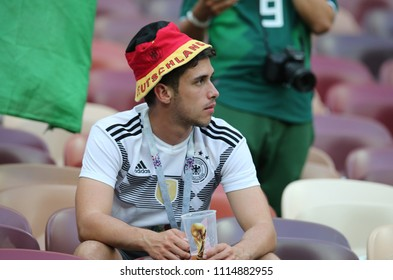 17.06.2018. Moscow, Russian: Germany  fans disappointed at end of  Fifa World Cup Russia 2018, Group F, football match between GERMANY v MEXICO in Luzhniki Stadium  in Moscow.