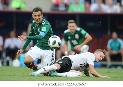 17.06.2018. Moscow, Russian: Hernandez and Reus in action during the Fifa World Cup Russia 2018, Group F, football match between GERMANY v MEXICO in Luzhniki Stadium  in Moscow.