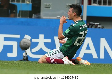17.06.2018. Moscow, Russian: Lozano score the gol  during the Fifa World Cup Russia 2018, Group F, football match between GERMANY v MEXICO in Luzhniki Stadium  in Moscow.