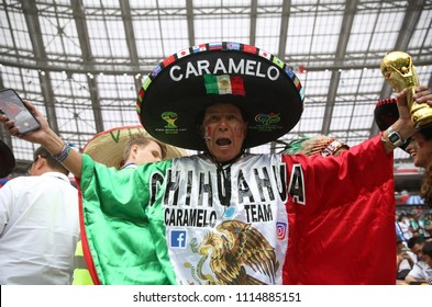 17.06.2018. Moscow, Russian: Mexican fan before the Fifa World Cup Russia 2018, Group F, football match between GERMANY v MEXICO in Luzhniki Stadium  in Moscow.