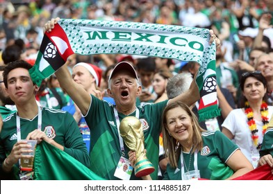 17.06.2018. Moscow, Russian:   Mexican fans in the stands at Fifa World Cup Russia 2018, Group F, football match between GERMANY v MEXICO in Luzhniki Stadium  in Moscow.