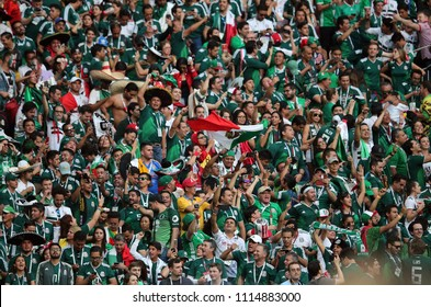 17.06.2018. Moscow, Russian: Mexicans fans celebrates victory  in  the Fifa World Cup Russia 2018, Group F, football match between GERMANY v MEXICO in Luzhniki Stadium  in Moscow.