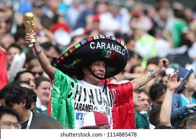 17.06.2018. Moscow, Russian: Mexicans fans celebrate Lozano gol in  Fifa World Cup Russia 2018, Group F, football match between GERMANY v MEXICO in Luzhniki Stadium  in Moscow.